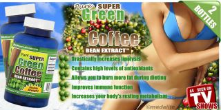 Pure Green Coffee Bean Extract 2 Bottles Chlorogenic Acid 800mg Weight