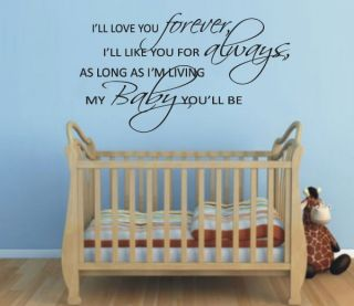 ll Love You Forever My Baby Youll Be Nursery Quote Vinyl Wall Decal