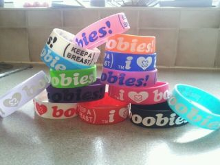 Silicone I Love Boobie Wristbands Bracelets Bangle Various Colours