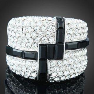 ARINNA Black Adorn Woman Vogue Finger Ring White Gold GP 18K Swarovski