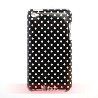 White Polka Dots Hard Black Case Cover Skin for iPod Touch 4 4th GEN