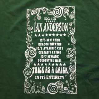 2012 Ian Anderson Thick As A Brick Tour Shirt XL Jethro Tull New York