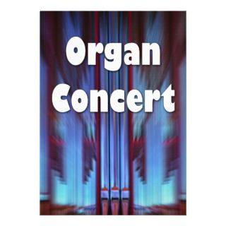 Organ concert invitation   blue facade landscape