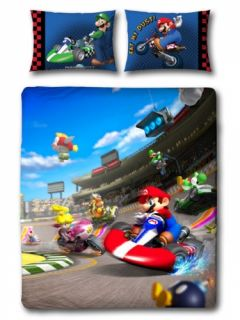 Mario Kart Race Reversible Panel Double Bed Duvet Quilt Cover Set
