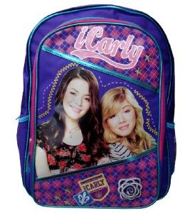 iCarly Large School Backpack Book Bag Purple Features Carly Sam