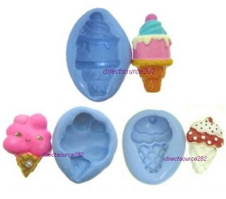 Ice Cream Cone Flexible Push Silicone Mold Mould Polymer Resin Clay