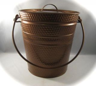 Copper Colored Metal Tin Ice Bucket Storage w Lid Dot Pattern