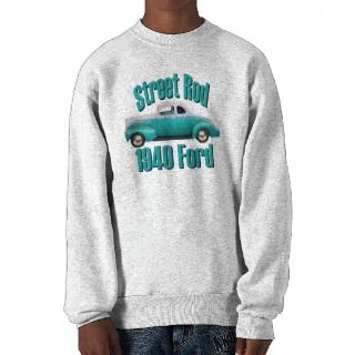 1940 Ford Deluxe Coupe Street Rod Sky Blue Pullover Sweatshirt