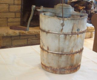ANTIQUE VINTAGE WOOD BARREL ALASKA FREEZER ICE CREAM MAKER CHURN HAND