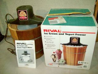 ice cream maker / yogurt maker / model 8455 / 4 qt. electric  wood