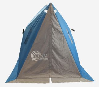 Clam® Twin Hub II Ice Shelter 4 Man Ice Fishing Shelter Blue 7 x 7