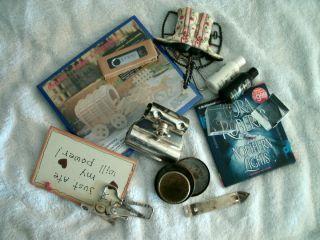 Misc Grab Box ice skate sharpener, Nora roberts cd ,boot hanger, plus