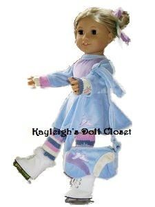 Blue Ice Skating Outfit Bag Fits American Girl 18 Dolls