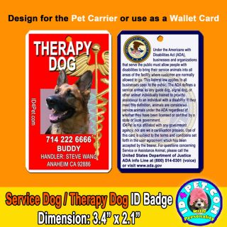 Service Dog Therapy Dog ID Tags Badges