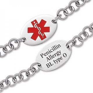 Personalized Medical ID Alert Engraved Oval Stainless Steel Bracelet