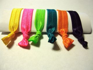 Neon Bright Hair Ties No crease Elastic Rubberband Pony Tail Holders