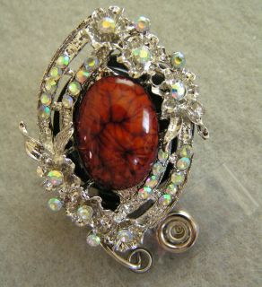 Elegant Brown Rhinestones ID Badge Holder RETRACTABLE Reel Swivel Clip