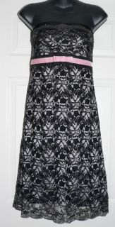Ideology Womens Black Silver Floral Lace Dress Sz 6