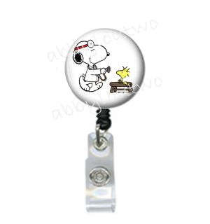 Retractable ID Badge Holder Reel Snoopy and Woodstock