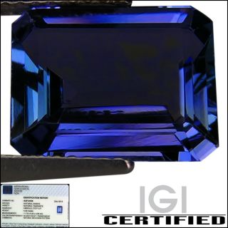 IGI Certified 5.09 ct AA+ Natural DBlock Tanzanite Emerald Cut Bluish
