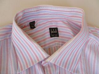Ike Behar New York Light Pink Blue Striped Cotton Dress Shirt Mens 17