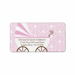 Vintage Baby Carriage Baby Shower Address Label