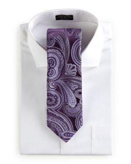 Ike Behar Paisley Tie Plum