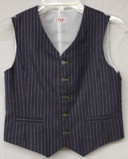 IL Gufo Blue Striped Linen Vest for Boys Size 8