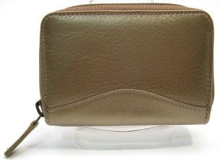 Ili Leather Credit Card Holder Card ID Case One Zip Indexer Bronze New