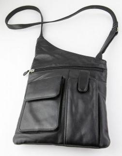 Ili Intercontinental Leather Black Leather Crossbody Shoulder Travel