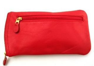 Ili Leather Double Eyeglass Case Two Zip Red Glasses Case New