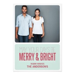 MERRY & BRIGHT  HOLIDAY PHOTO CARD CUSTOM ANNOUNCEMENT