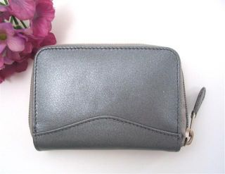Ili Leather Credit Card Holder Card ID Case One Zip Indexer Pewter New
