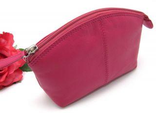 Ili Leather Cosmetic Bag Pouch Fuchsia Makeup Bag New