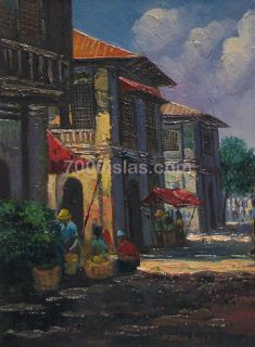 Iloilo City 18x24 Philippine Spanish Houses Pinoy Art Oil Painting
