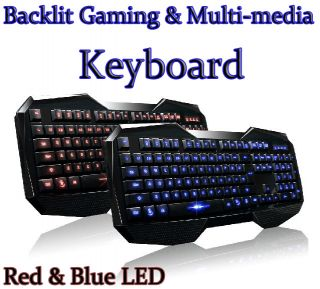 Illuminated Keyboard USB LED Backlit Light Up Multi Media Games Gaming