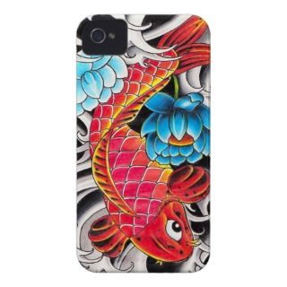 Cool oriental japanee Red Koi Carp fish Blue Lotus iPhone 4 Cover
