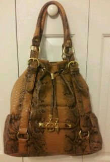 IMAN Global Chic Tote Brown Black Python Snakeskin Design