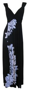 Black White Japanese Floral Print Maxi Dress Size 8 New