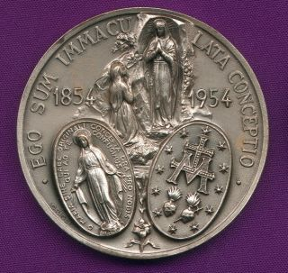 1854 1954 Lourdes Grotto Virgin Mary Medal by Lorioli