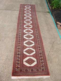 Bokhara Rug Runner Hand Made in Pakistan 31x12 Nice