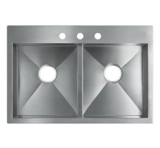 33 Inch Top Mount / Drop In Stainless Steel Double Bowl Kitchen Sink