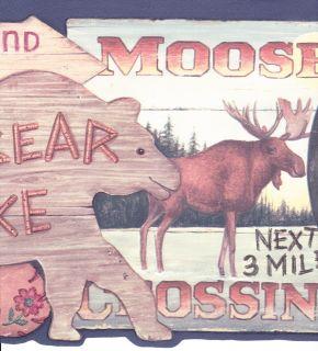 Signs Hunting Fishing Bear Moose Country Wallpaper Wall Border