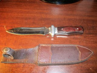 Unknown Fixed Blade Knife w Sheath Used Made in Pakistan