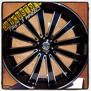 22 inch Versante Rims Wheels Tires VW225 22x8 Black Impala 2008 2009