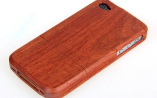 Indian Red Natural Wood Bamboo Wooden Cover Case for iPhone 4 4S UC409