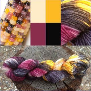 INDIAN CORN Hand Dyed Superwash Merino Wool Sock Yarn  100g   3.5 oz