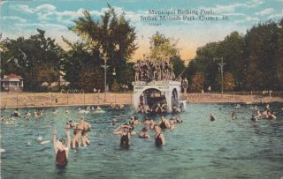 Quincy IL Illinois Indian Mounds Park Bathing Postcard