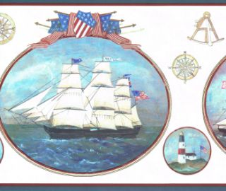 Schooner Lighthouse Patriot Stars Strips Wallpaper Border Wall