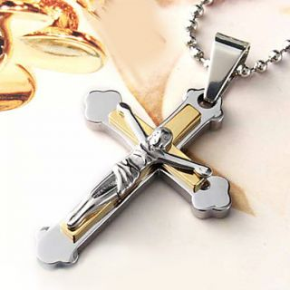USD $ 6.29   Stations of The Cross Pendant Stainless Steel Necklace
